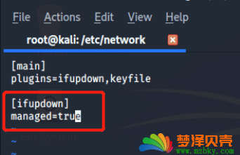 kali linux device not managed 错误提示上不了网 解决方法
